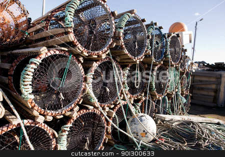 Lobster Trap Detail stock photo, A detail of lobster traps stacked on the dock by Tyler Olson