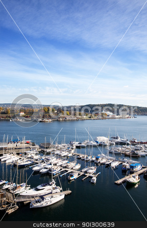 Oslo Fjord stock photo, A view of the Oslo fjord and akerbrygge from the sky by Tyler Olson