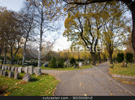 Graveyard stock photo, A graveyard in the fall by Tyler Olson