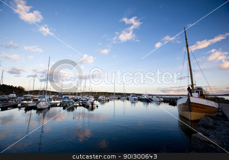 Sailboats in the Evening stock photo, A dock with sailboats in the evening sun by Tyler Olson