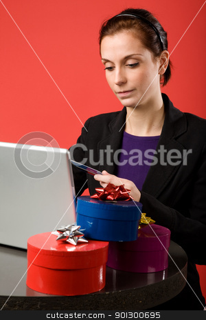 Christmas Shopping Online stock photo, A young female shopping for christmas presents online.   by Tyler Olson