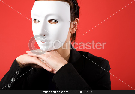 Anonymous Business Woman stock photo, A young business woman behind a white mask by Tyler Olson