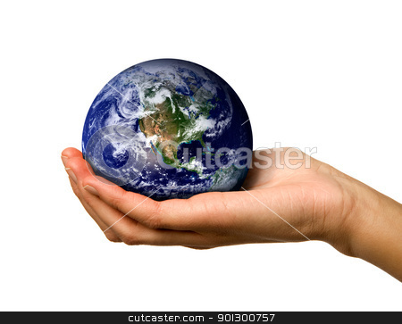 Hand holding World stock photo, A hand holding the world safe by Tyler Olson