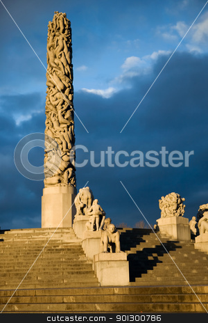 Vigeland Park Monolith stock photo, The monolith at the vigeland park in Oslo, Norway by Tyler Olson