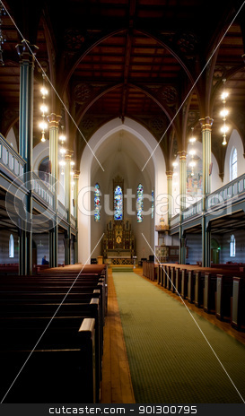 Gothic Wooden Church stock photo, An old gothic style church with a wood roof by Tyler Olson