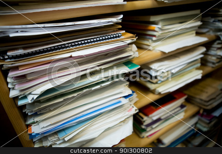 Paper Stacks stock photo, Stacks of old music notes - Shallow depth of field with focus on closest papers by Tyler Olson