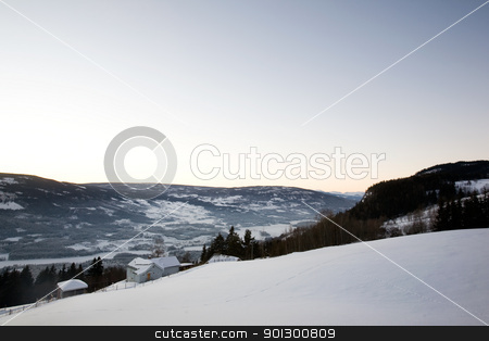 Rural Norway stock photo, A snowy landscape in Norway by Tyler Olson