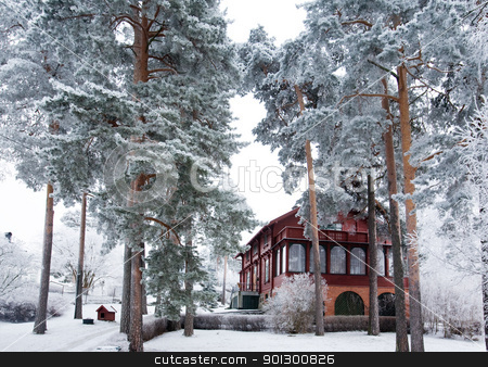 Winter Villa stock photo, A villa in the winter by Tyler Olson