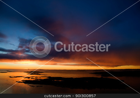 Ocean Sunset stock photo, Beautiful coastal Landsacpe on the very outside of the Oslo Fjord near Fredrikstad, Norway. by Tyler Olson