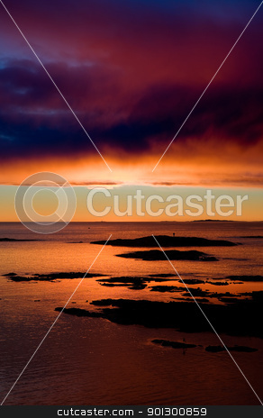 Ocean Sunset stock photo, Coastal Landsacpe on the very outside of the Oslo Fjord near Fredrikstad, Norway. by Tyler Olson