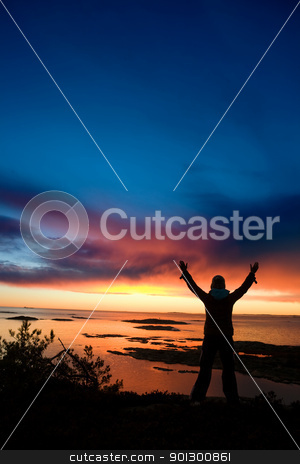 Ocean Celebration stock photo, A person standing by the ocean raising their arms in celebration by Tyler Olson