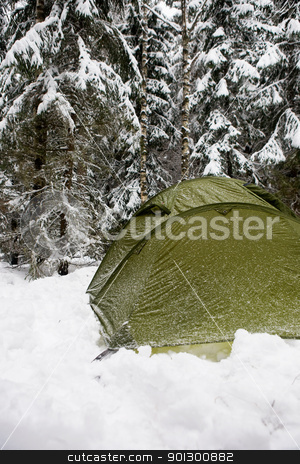 Tent in Snow stock photo, A tent in the forest during winter by Tyler Olson