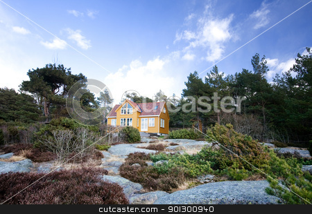 Cabin stock photo, A fancy cabin in the forest on rocks by Tyler Olson