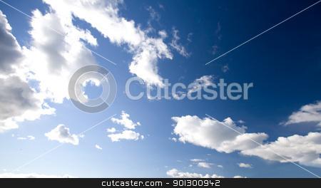 Deep Blue Sky stock photo, A deep blue sky background close to the horizon by Tyler Olson