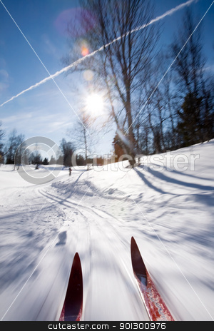 Cross Country Skiing Motion stock photo, An action motion shot of cross country skiing by Tyler Olson