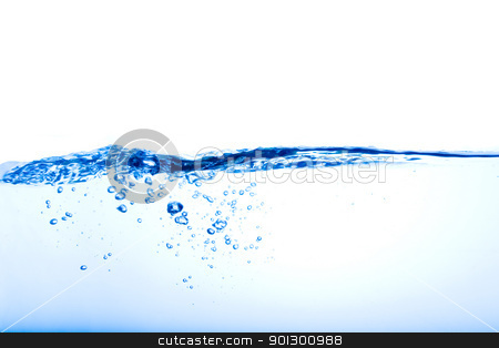 Bubbles and Waves stock photo, Blue water wave over a white background by Tyler Olson