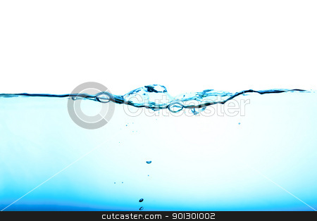 Water flow stock photo, Blue water background abstract isolated on white by Tyler Olson