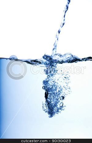 Water Flow stock photo, Water flowing into a pool with side view by Tyler Olson