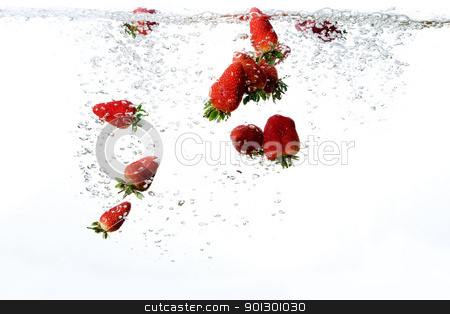 Fresh Strawberry Background stock photo, Strawberries in water with bubbles by Tyler Olson