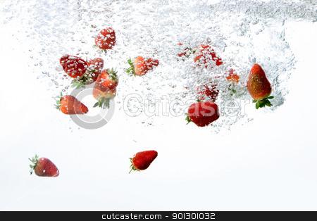 Strawberry Bubble Background stock photo, Fresh strawberry bubble background isolated on white by Tyler Olson