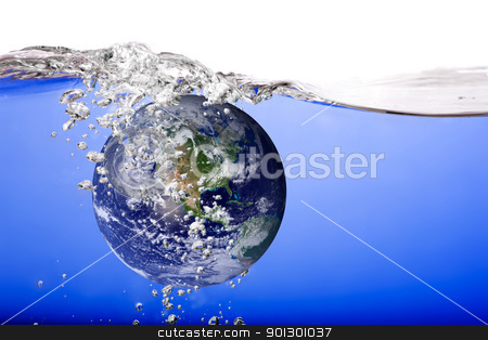 Globe Drowning stock photo, The world drowning in water and bubbles by Tyler Olson