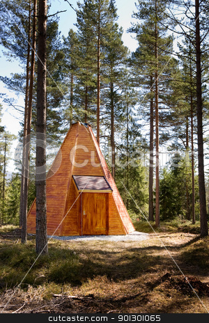 Teepee Cabin in Forest stock photo, A teepee cabin hut in the forest by Tyler Olson