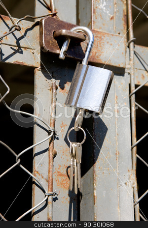 Heavy Padlock stock photo, A heavy lock on a wire gate - open padlock with keys by Tyler Olson