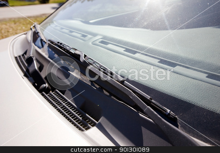 Windshield Wiper stock photo, A windshield wiper detail on a car by Tyler Olson