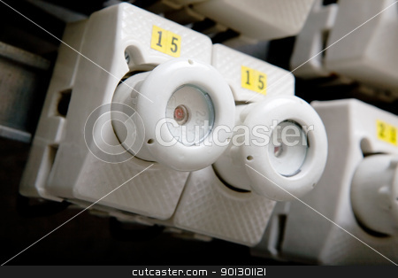 Electrical Breaker Detail stock photo, A detail of a european electrical breaker. by Tyler Olson