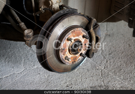 Car Break Detail stock photo, Used Car Break detail with tire removed by Tyler Olson