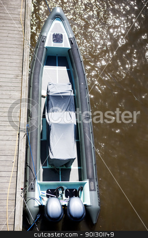 Speed Boat stock photo, A top view of a speed boat at dock by Tyler Olson