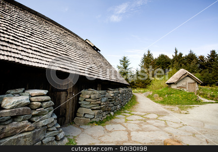 Viking Farm stock photo, An old norwegian viking farm with two typical buildings by Tyler Olson