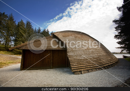 Viking Boat House stock photo, A viking boat house - for storage of goods / boats and weapons. by Tyler Olson