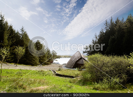 Viking Boat House stock photo, A viking storage building for boats and goods by Tyler Olson