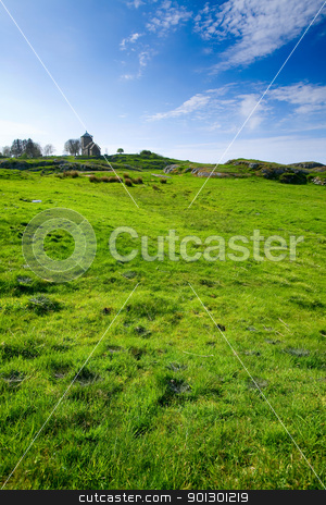 Meadow with Church stock photo, A curch on a hill and a green meadow by Tyler Olson