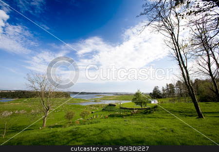 Norwegian Coast stock photo, A coastal landscape with meadow and ocean by Tyler Olson