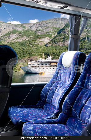 Norwegian Fjord Bus Tour stock photo, A fjord view from a bus by Tyler Olson