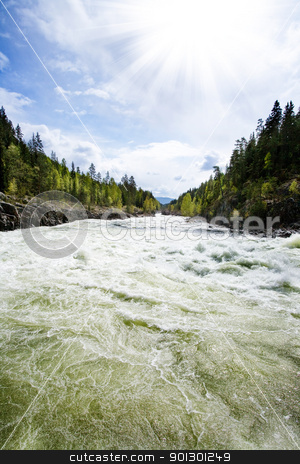 River Landscape stock photo, A nature landscape of river rapids in Norway by Tyler Olson