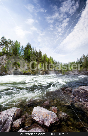 White Water River stock photo, A fast moving river with white water rapids. by Tyler Olson