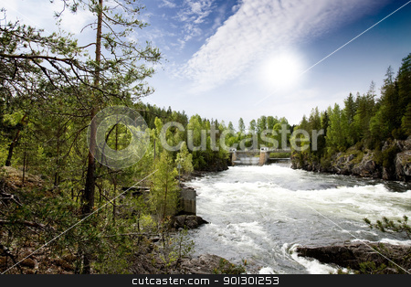 Hydro Power River stock photo, A hydro electric plant on a river by Tyler Olson