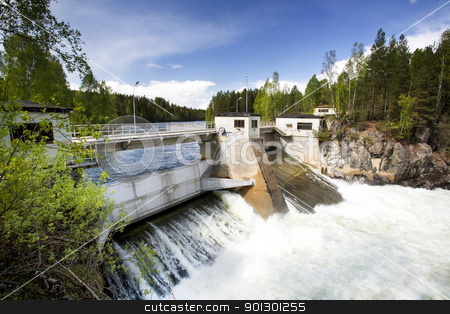 Hydro Power stock photo, A hydro electric plant on a river by Tyler Olson
