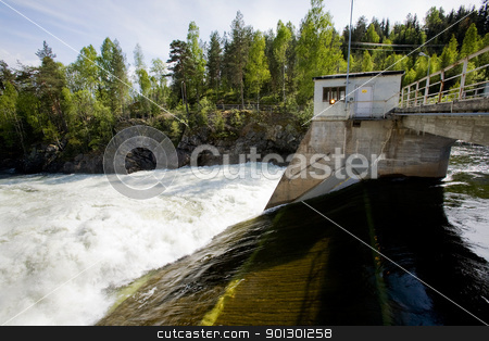 Hydro Electric stock photo, A hydro electric plant on a river by Tyler Olson
