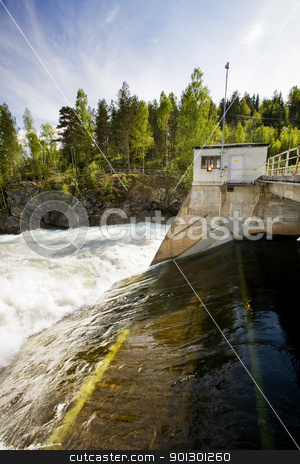 Hydro Power Station stock photo, A hydro electric plant on a river by Tyler Olson