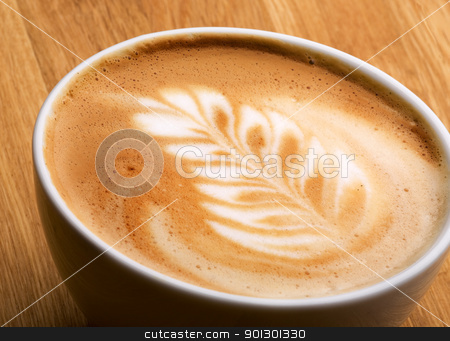Latte Art stock photo, A latte in a bowl with latte art by Tyler Olson