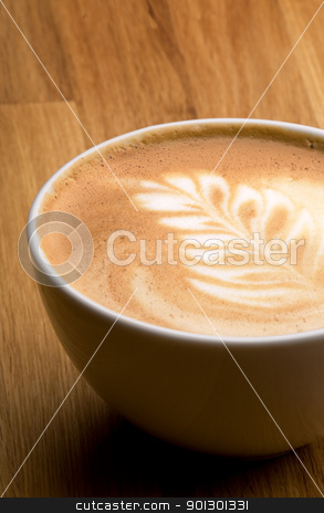 Latte stock photo, A latte in a bowl with latte art by Tyler Olson