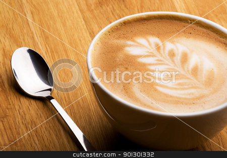 Cappuccino stock photo, A cappuccino in a bowl with latte art by Tyler Olson
