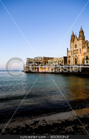 St. Julians Bay stock photo, St Julians Bay in Malta by Tyler Olson