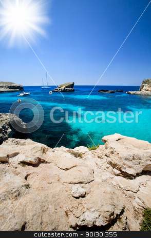 Blue Lagoon stock photo, Blue lagoon swimming cove by Tyler Olson