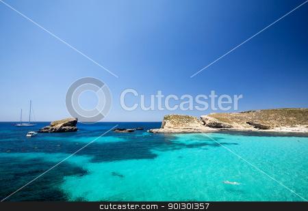 Blue Lagoon stock photo, Blue lagoon in Malta on the island of Comino by Tyler Olson