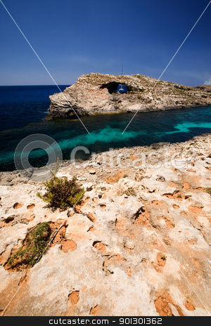 Gozo Blue Lagoon stock photo, Island Paradise on Comino in malta - the blue lagoon by Tyler Olson